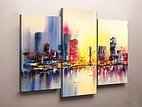 """Модульні картини-абстракцій від виробника """"Фантастичні міста"""". Фотодрук на холсті на замовлення."""