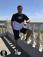 Мужской летний спортивный костюм шорты+футболка 081-13,5 (46-48,48-50,50-52) (цвета: черный+белый) СП