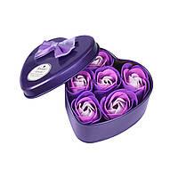 Ароматизированное мыло для ванной в коробочке 6 шт, фиолетовый, Ароматизоване мило для ванної в коробочці 6 шт, фіолетовий, Наборы косметики по уходу