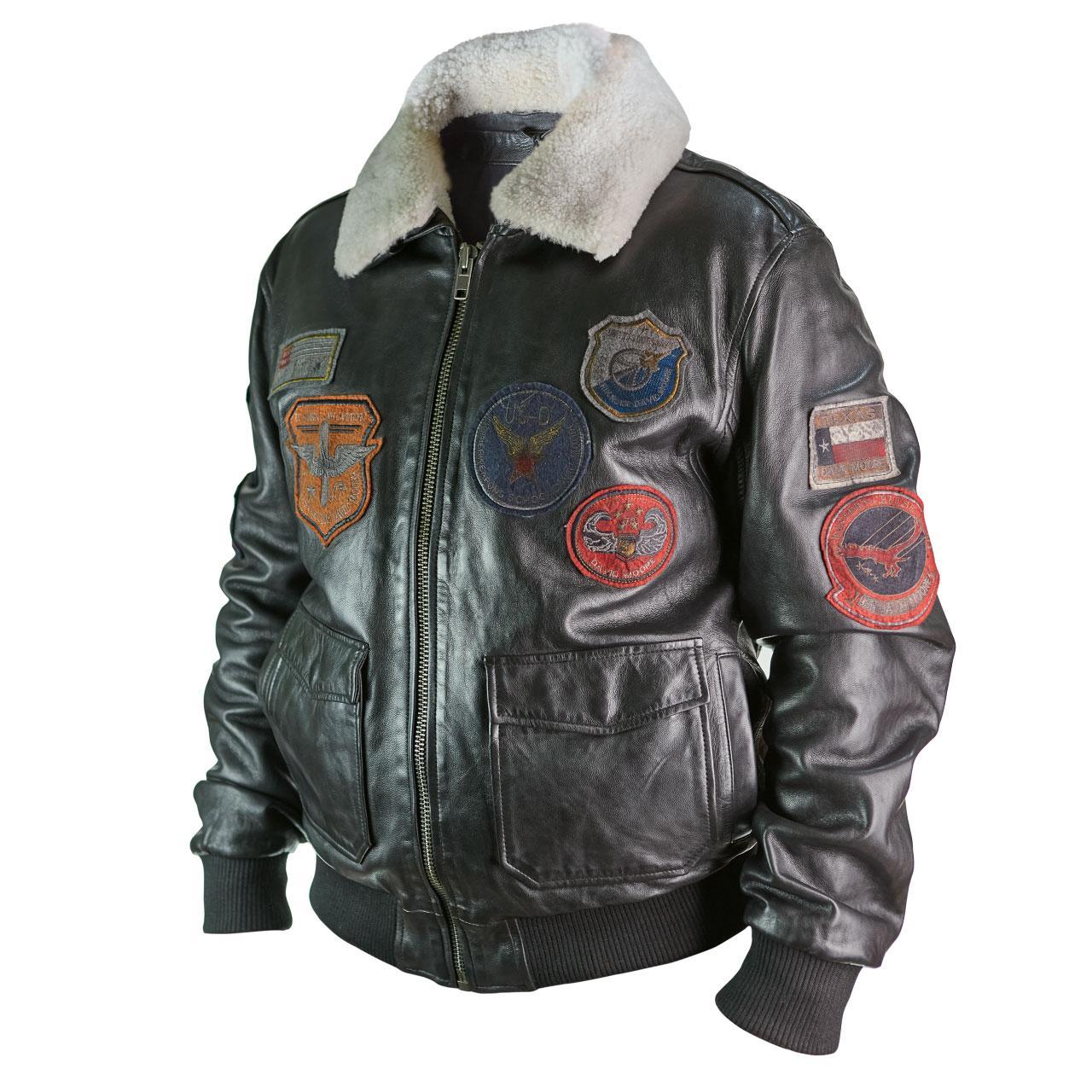 Летная куртка David Moore кожаная черная