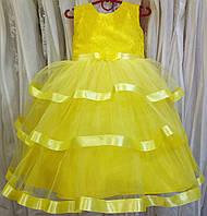 4.161 Пышное желтое нарядное детское платье-маечка с гипюром и оборками на 3-5 лет