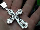 Серебряный крест с камнями оникс, фото 6