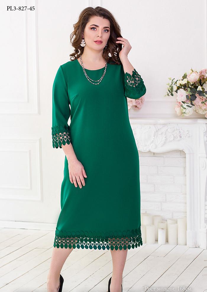 / Размер 52,54,56,58 / Женское платье прямого силуэта с рукавом ¾ / цвет зеленый