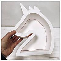 Пенобокс для цветов - Единорог 25*18,5*10 см - крашеный белый