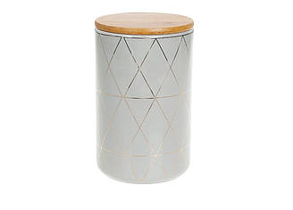 Банка керамическая 850 мл с бамбуковой крышкой Ромбы BonaDi 304-912