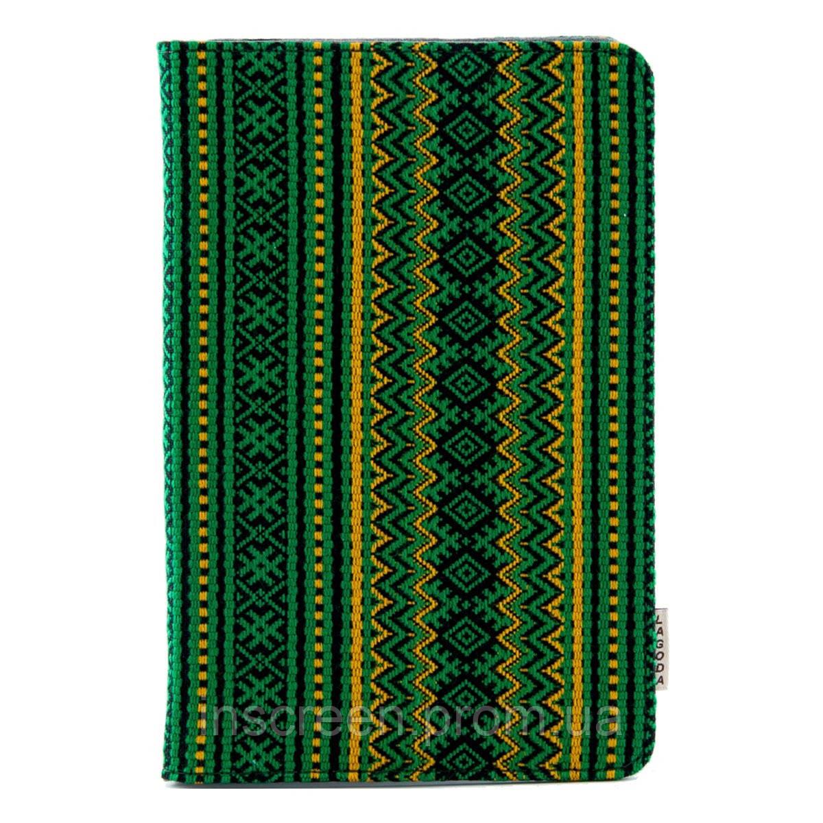 Чехол-книжка Lagoda Clip stand 6-8 зеленый, вышиванка