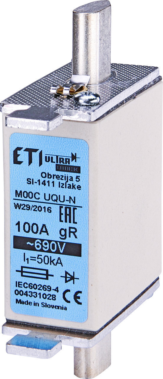 Предохранитель ETI M00CUQU-N gR 125A 690V 50kA 4331029 ножевой сверхбыстрый (NH-00C)