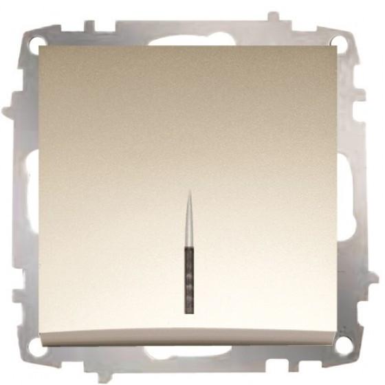 Выключатель одинарный проходной с подсветкой без рамки титаниум El-Bi ZENA