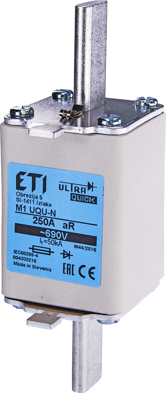 Предохранитель ETI M1UQU-N gR 80A 690V 50kA 4333210 ножевой сверхбыстрый (NH-1)