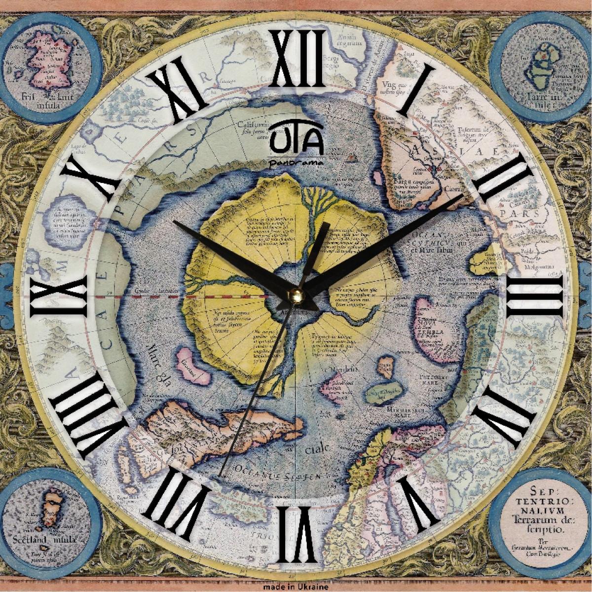Часы настенные UTA Panorama 300 х 300 х 21 мм Карты