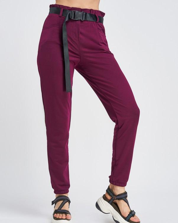 Бордовые трикотажные брюки с высокой посадкой