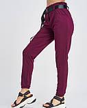 Бордовые трикотажные брюки с высокой посадкой, фото 2