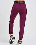 Бордовые трикотажные брюки с высокой посадкой, фото 3