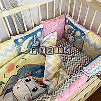 """Детское постельное бельё с подушками (8 предметов) """"Единороги"""""""