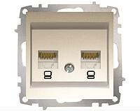 Розетка двойная компьютерная без рамки САТ 6 Jack титаниум El-Bi ZENA