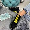 Демисезонные ботинки на желтой шнуровке черные эко замша //В НАЛИЧИИ ТОЛЬКО 36 37 38р, фото 3