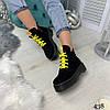 Демисезонные ботинки на желтой шнуровке черные эко замша //В НАЛИЧИИ ТОЛЬКО 36 37 38р, фото 4