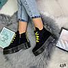 Демисезонные ботинки на желтой шнуровке черные эко замша //В НАЛИЧИИ ТОЛЬКО 36 37 38р, фото 5