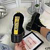 Демисезонные ботинки на желтой шнуровке черные эко замша //В НАЛИЧИИ ТОЛЬКО 36 37 38р, фото 6