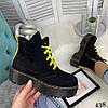 Демисезонные ботинки на желтой шнуровке черные эко замша //В НАЛИЧИИ ТОЛЬКО 36 37 38р, фото 8