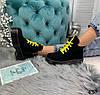 Демисезонные ботинки на желтой шнуровке черные эко замша //В НАЛИЧИИ ТОЛЬКО 36 37 38р, фото 9