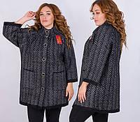 """Тёплый женский вязаный кардиган-пальто в больших размерах 003 """"Пушистик Ёлочка"""" в расцветках"""