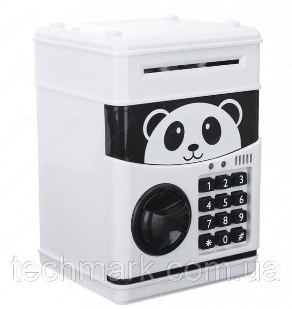 Копилка детский сейф с кодовым замком и купюроприемником для бумажных денег и монет. Панда