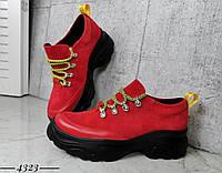 Замшевые молодёжные кроссовки 36-40 р красный, фото 1