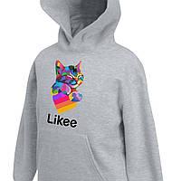Детский худи Likee Color Cat (Лайк цветной кот) Кенгуру Светло-серый (9298-1040-2) 128 см 7-8 лет