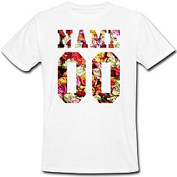 Мужская именная футболка - Flowers (принт спереди) [Цифры и имена/фамилии можно менять] (50-100% предоплата)