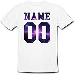 Мужская именная футболка - Space (принт спереди) [Цифры и имена/фамилии можно менять] (50-100% предоплата)