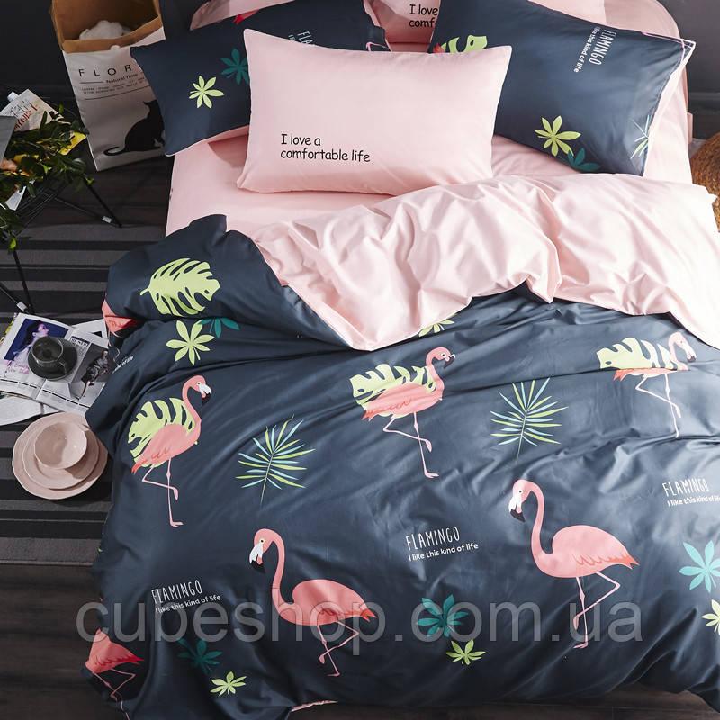 """Полуторный комплект постельного белья """"Фламинго и листочки"""" (хлопок)"""