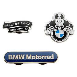 Оригинальный набор из трех металлических значков BMW Motorrad Metal Pin Set, артикул 76899898244
