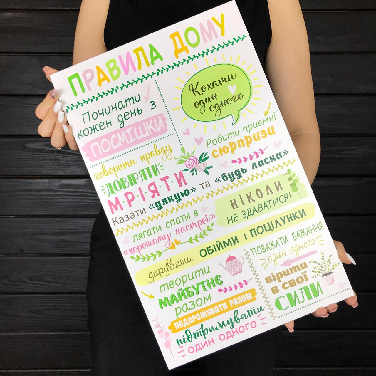 Декоративный деревянный постер «Правила дома»