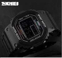 Skmei 1134 черные с черным экраном мужские спортивные часы