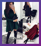Женское платье из дайвинга черное бордо бутылка универсальный42-46