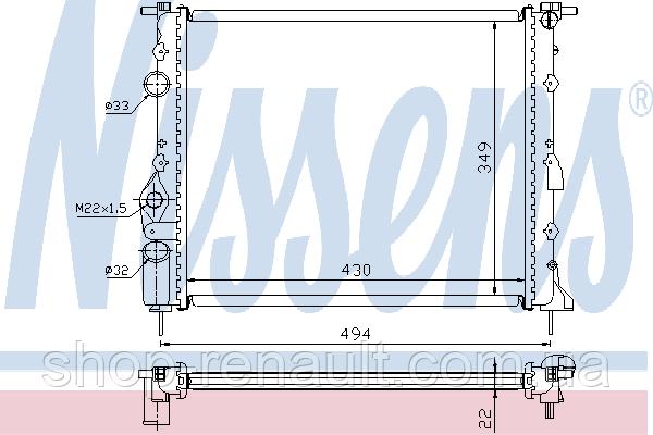 Радиатор без кондиционера до 2008 Solenza/Logan 1.4-1.6 7700836301 NISSENS, 639371