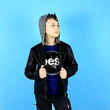 9260 Демисезонная куртка для мальчика кожаная с отстегивающимся капюшоном тм Glo-Story размер 134,140,146,152,158,164