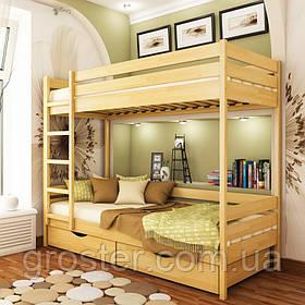 Дерев'яна двох'ярусна ліжко Дует Естелла з бука. Двоповерхова підліткове ліжко