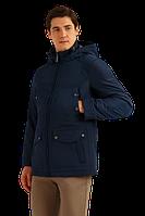 Мужская осенняя куртка с нагрудными карманами темно-синяя Finn Flare B19-22005-101