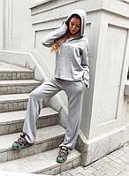Женский спортивный костюм с капюшоном ангора серый S-M M-L
