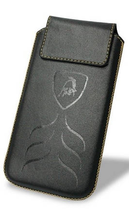 """Чехол-вытяжка Lamborghini кожаный чехол-вытяжка универсальный с диагональю до 6"""" черный, фото 2"""