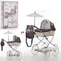 KM81031 Коляска   для куклы, 68-42-81см, классика, сумка, корзинка,зонт, в кор-ке,36,5-61-16см