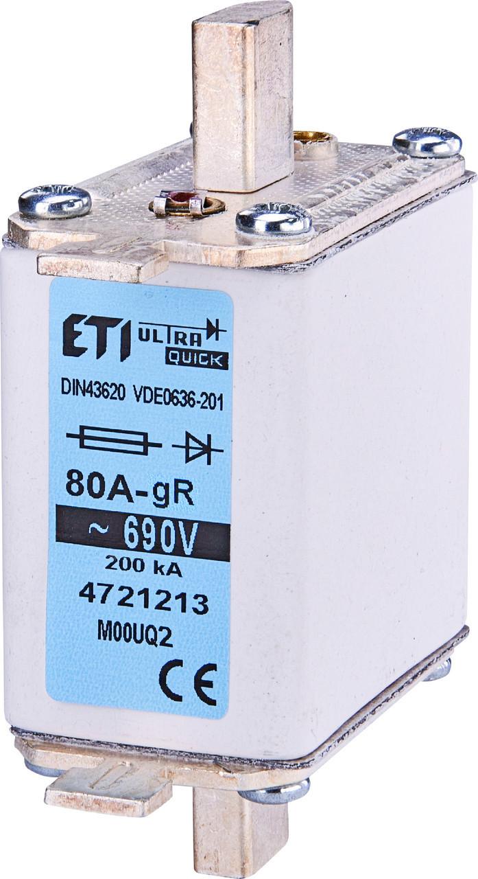 Предохранитель ETI M000UQ2 gR 50A 690V 200kA 4721211 ножевой сверхбыстрый (NH-00C)