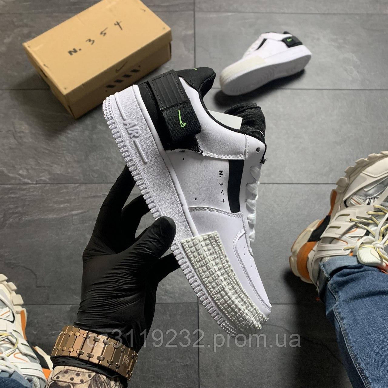 Женские кроссовки Nike Аir Force Shadow White Black (бело-черные)