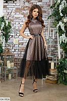 Выпускное нарядное шелковое платье - клеш в горошек арт 7320
