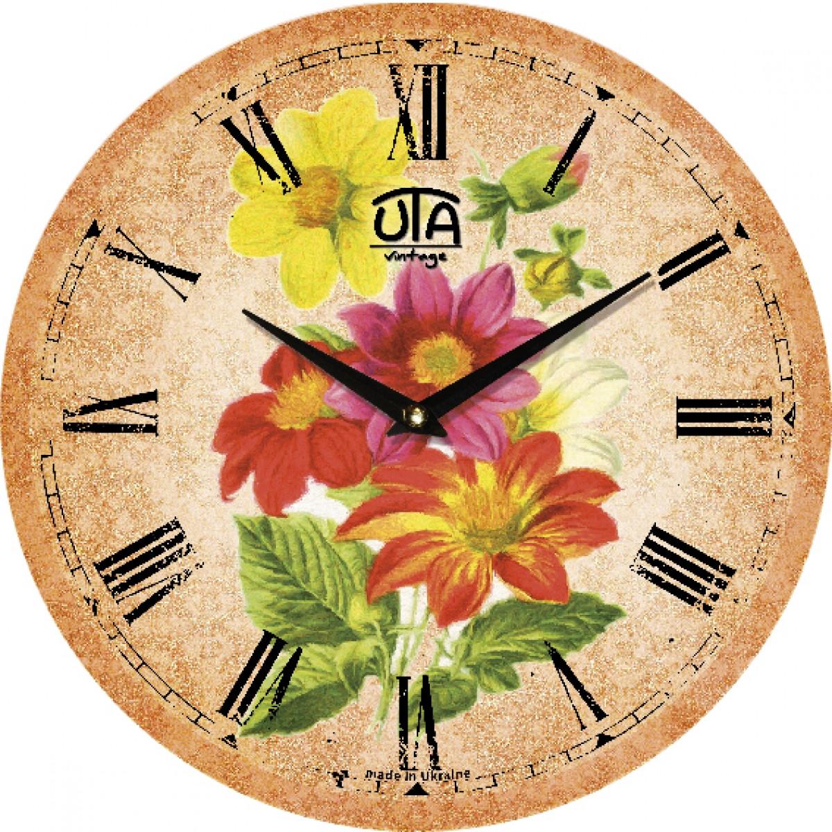 Часы настенные UTA Vintage 330 х 330 х 27 мм Цветочная абстракция