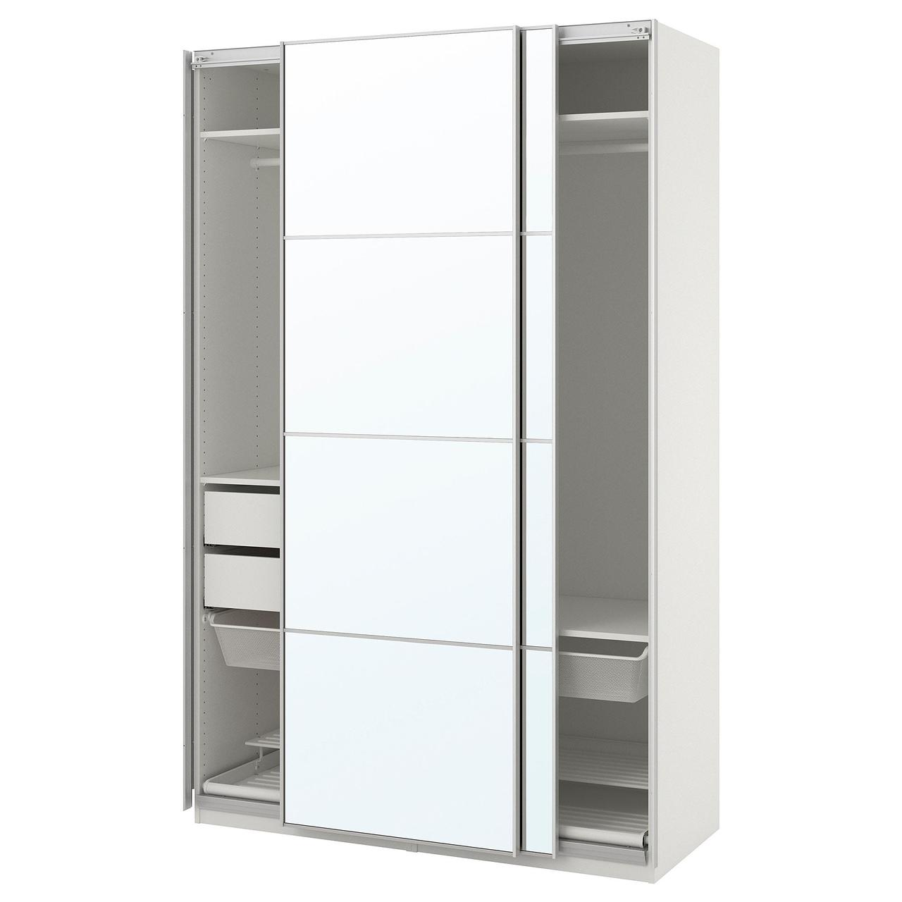 Гардероб IKEA PAX белый Аули зеркальное стекло 150x66x236 см 493.058.77