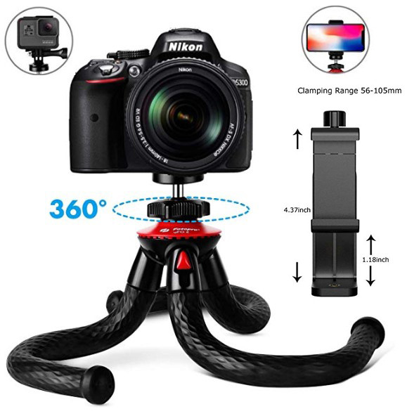 Гибкий штатив/трипод/тренога Fotopro 27 см для смартфонов и фотоаппаратов с поворотным крепление для телефона