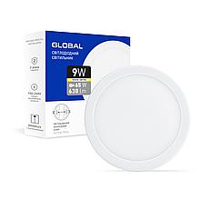 Світильник LED 9W 3000K 630Lm круглий вбудований Global